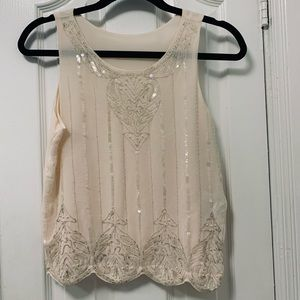 Classy beige tank top with shiny sequins💎